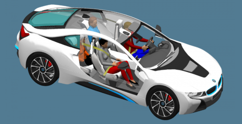 simulation model of four humans inside white car