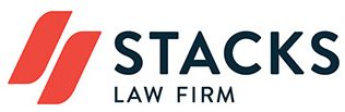 Stacks the law firm logo red and black